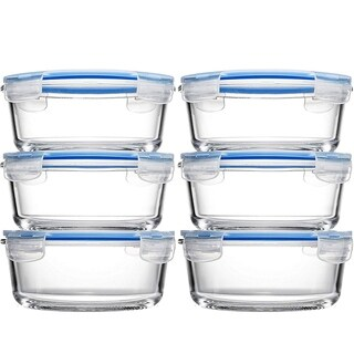 Glass Food Storage Containers (6 Pack 32 oz) Airtight Snap Locking Lid