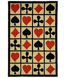 Safavieh Hand-hooked Poker Ivory Wool Rug (3'9 x 5'9)