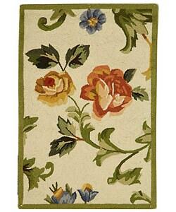 Hand-hooked Garden of Eden Ivory Wool Runner (2'6 x 4')
