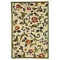 Hand-hooked Garden of Eden Ivory Wool Rug (3'9 x 5'9)