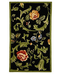 Hand-hooked Garden of Eden Black Wool Rug (2'9 x 4'9)