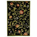 Hand-hooked Garden of Eden Black Wool Rug (3'9 x 5'9)