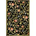 Hand-hooked Garden of Eden Black Wool Rug (5'3 x 8'3)