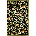 Hand-hooked Garden of Eden Black Wool Rug (6' x 9')