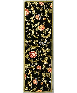Safavieh Hand-hooked Garden of Eden Black Wool Runner (2'6 x 6')