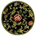 Safavieh Hand-hooked Garden of Eden Black Wool Rug (3' Round)
