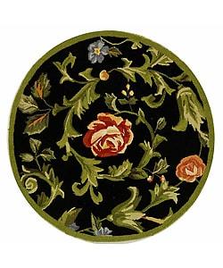 Safavieh Hand-hooked Garden of Eden Black Wool Rug (4' Round)