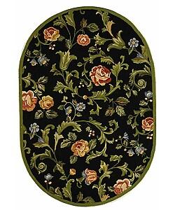 Safavieh Hand-hooked Garden of Eden Black Wool Rug (4'6 x 6'5 Oval)