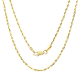 Sterling Essentials 14k Yellow Gold 1.5mm Rope Chain Necklace