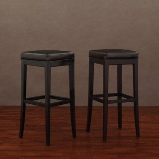 Kari Dark Brown Leather Bar Stools (Set of 2)