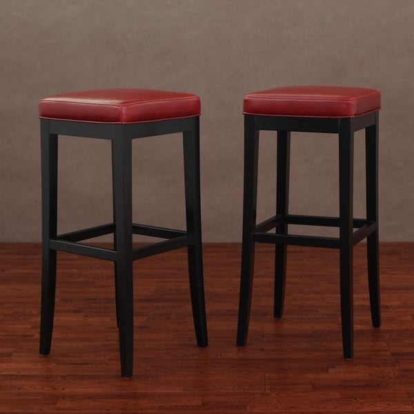 Kari Burnt Red Leather Barstools (Set of 2)