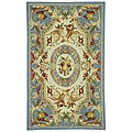 Hand-hooked Fruit Harvest Blue Wool Rug (3'9 x 5'9)