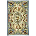 Hand-hooked Fruit Harvest Blue Wool Rug (5'3 x 8'3)