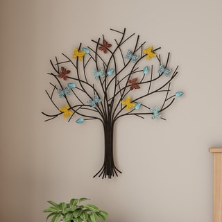 Tree of Life Butterfly Metal Wall Art- Hand Painted Decorative 3D Butterflies/Leaves for Modern Farmhouse by Lavish Home