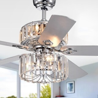 Perris 52-Inch 5-Blade Chrome Lighted Ceiling Fan with 2-Tier Crystal Shade Optional Remote (2 Color Option Blades)