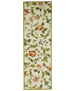 Safavieh Hand-hooked Garden of Eden Ivory Wool Runner (2'6 x 8')