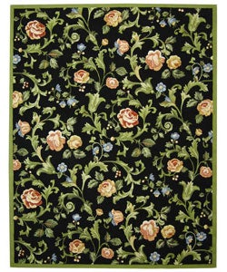 Hand-hooked Garden of Eden Black Wool Rug (7'9 x 9'9)