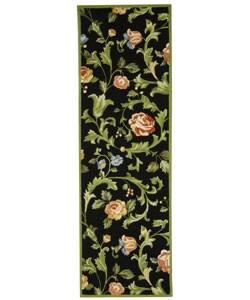 Hand-hooked Garden of Eden Black Wool Runner (2'6 x 10')
