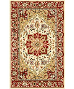 "Lyndhurst Collection Oriental-Pattern Ivory/Red Rug (5'3"" x 7'6"")"