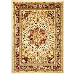 Lyndhurst Collection Ivory/Red Traditional Rug (8' x 11')