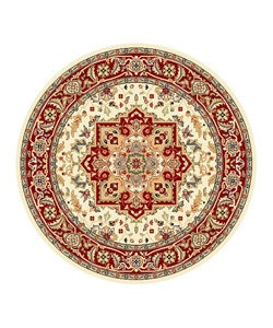 Lyndhurst Collection Ivory/ Red Area Rug (5'3 Round)