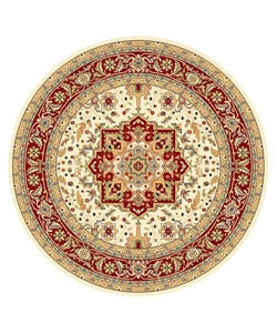 Lyndhurst Collection Ivory/ Red Area Rug (8' Round)