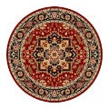 Lyndhurst Collection Red/Black Area Rug (5' 3 Round)