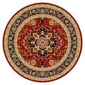 Lyndhurst Collection Traditional Red/Black Rug (8' Round)
