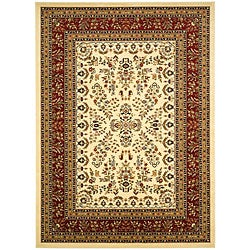 Lyndhurst Collection Ivory/ Red Rug (5'3 x 7'6)