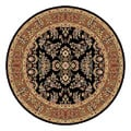 Lyndhurst Collection Black/ Tan Rug (5' 3 Round)