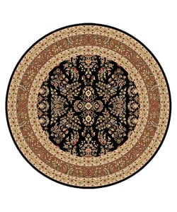 Lyndhurst Collection Black/ Tan Rug (8' Round)