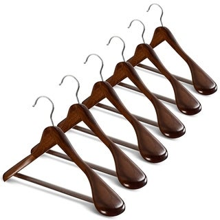 Extra Wide Shoulder Wooden Hangers Heavy Duty Coat Hanger - Set of 6