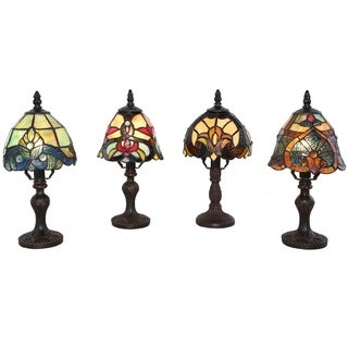 """River of Goods Set of 4 Family Favorites Tiffany Style Stained Glass Mini Accent Lamps - 6""""L x 6""""W x 12""""H - Each"""