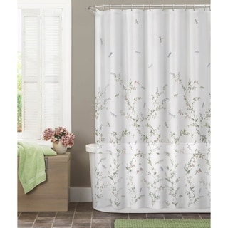 Maytex Dragonfly Garden Fabric Semi Sheer Shower Curtain