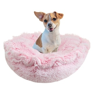 Bessie and Barnie Ultra Plush Bubble Gum Deluxe Shag Dog/ Pet Lily Pod Bed - 24""