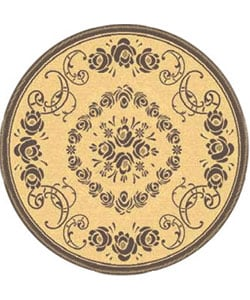 Safavieh Indoor/ Outdoor Garden Natural/ Brown Rug (5'3 Round)