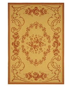 Indoor/ Outdoor Garden Natural/ Terracotta Rug (4' x 5'7)