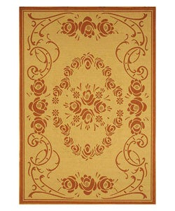 Indoor/ Outdoor Garden Natural/ Terracotta Rug (5'3 x 7'7)