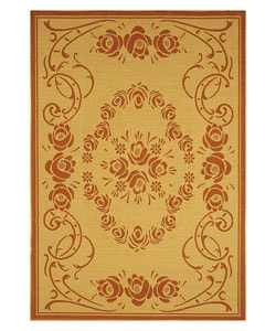 Indoor/ Outdoor Garden Natural/ Terracotta Rug (7'10 x 11')