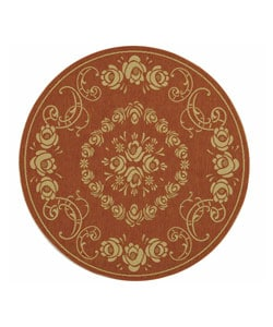 Safavieh Indoor/ Outdoor Garden Terracotta/ Natural Rug (5'3 Round)