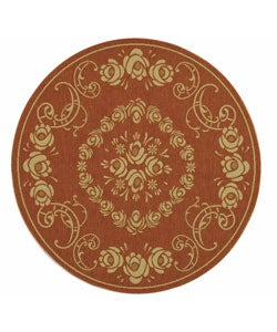 Safavieh Indoor/ Outdoor Garden Terracotta/ Natural Rug (6'7 Round)