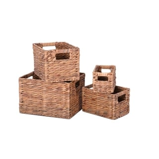 Handmade Hyacinth Nesting Baskets, Set of 4