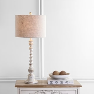 "Regent 33"" Rustic Resin LED Table Lamp, White Wash by JONATHAN Y"