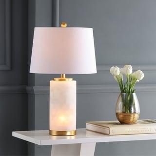 "Eliza 25.5"" Alabaster LED Table Lamp, White/Gold Leaf by JONATHAN Y"