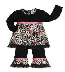 Sweet Jojo Designs Baby Girl's 2-piece Leopard Rose Outfit