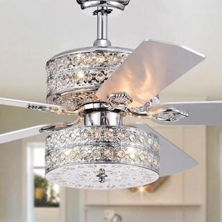 Empire Deux 5-Blade Silver Chandelier Ceiling Fan 52-Inch Optional Remote Control (incl 2 Color Option Blades)