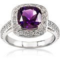 Annello 14k White Gold 1/2ct Diamond Amethyst Ring