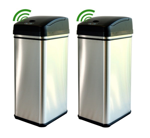 iTouchless 13-gallon Deodorizer Filtered Stainless Steel Sensor Trash Can (Pack of 2)
