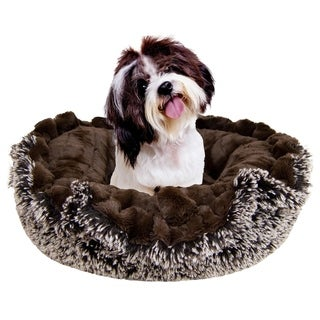 Bessie and Barnie Ultra Plush Godiva Brown/ Frosted Willow Deluxe Shag Dog/ Pet Lily Pod Bed - 24""