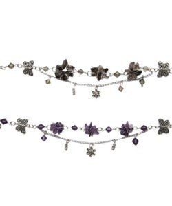Tibet Silver Amethyst Flower Set (China)